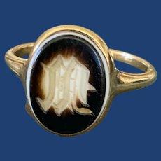 Victorian M Agate Signet Ring 18k