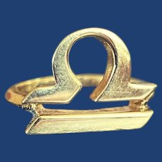 Rare 70s Cartier Libra Signet Ring 18k