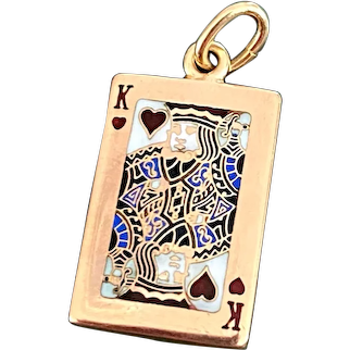 Rare Vintage Tiffany King of Hearts Enamel Playing Card 14k