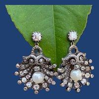 Antique Diamond Pearl Shell Earrings