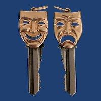 Vintage Comedy & Tragedy Masks Key Pendant 14k