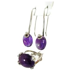 Retro Modern Amethyst Silver Ring Earrings Jewelry Set 35 ctw