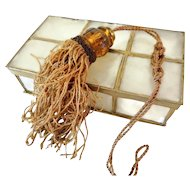Victorian Tassel Lamp Pull with Amber Glass