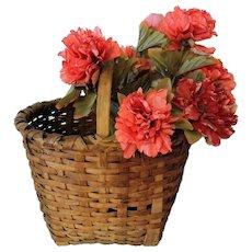 Antique Splint Gathering Basket, Primitive Americana Decor