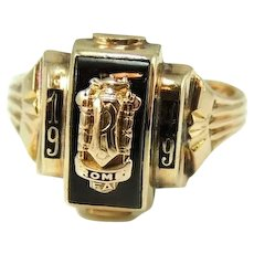 Vintage 10k Gold Class Ring, RFA, Rome Free Academy Class Ring, 1949  Bastian Bros