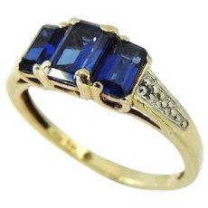 10k Sapphire Ring, Emerald Cut Sapphires, 3 Stone Ring 1.92ctw