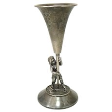 Antique Figural Silver Plate Trumpet Vase Boy and Shovel Meriden B. Co.
