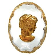 Victorian Crystal Intaglio Gilt Unmounted Trinket Curio Vanity Faceted