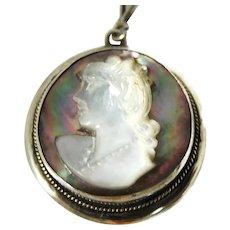 Antique Silver Abalone Cameo Pendant European