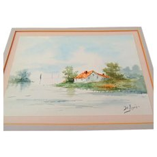 Antique American Watercolor Painting Scenic Signed Artist Cataloged at Smithsonian