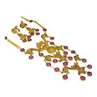 Vintage Egyptian Revival Haute Couture Necklace and Earring Set Purple Bezel Stones