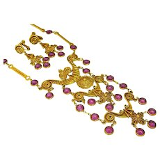 Vintage Egyptian Revival Haute Couture Necklace and Earring Set Purple Bezel Stones