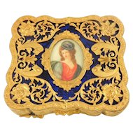 Vintage Victorian Style Compact Ornate Gilt Cameo Portrait
