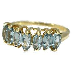 10k Blue Topaz Ring Gold Chevron Setting 2.17 ctw