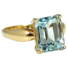 14k Gold Blue Topaz Ring Emerald Cut 4.26 Cts