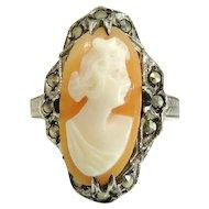 Antique Silver Cameo Ring Sterling Marcasite Art Nouveau Era