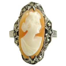 Antique Silver Cameo Ring Sterling Marcasite Art Nouveau Era