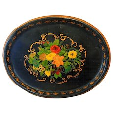 Early Tole Painted Tin Tray Large 26 Inch