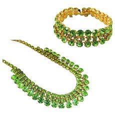 Peridot Green Rhinestone Jewelry Set Choker Necklace Bracelet 1950s Vintage Glamour