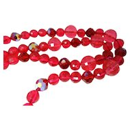 1940s Raspberry Vintage Lucite Beaded Necklace Sterling Clasp