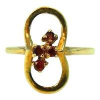 10k Three Stone Garnet Ring Vintage Davidson and Sons c1950