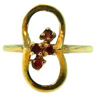 10k Three Stone Garnet Ring Vintage Davidson and Sons c1950