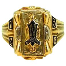 Vintage 10k Narbonne High School Class Ring Gold Los Angeles 1956