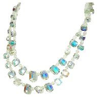 Vintage Emerald Cut Crystal Necklace Iridescent Double Strand Exquisite