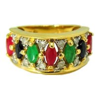 14k Ruby Sapphire Emerald Diamond Ring Stunning Gemstones 1.66 ctw