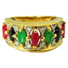 14k Ruby Sapphire Emerald Diamond Ring Stunning Gemstones 1.66 ctw