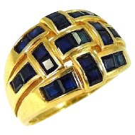 14k Sapphire Ring Woven Gold Channel Set 1.54 ctw