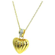 14k Puffy Heart Necklace Contemporary Vintage Gold