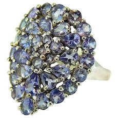 10k Tanzanite Cocktail Ring White Gold Contemporary Vintage