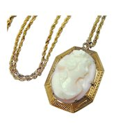 Antique 10k Cameo Pendant  Pink Shell Goddess 14k Gold Chain