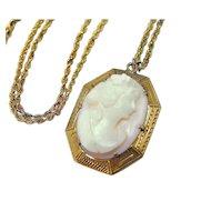 Antique 10k Cameo Pendant  Pink Shell Goddess 14k Gold Chain