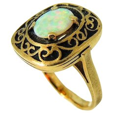 14k Fiery Australian Opal Ring Heavy Gold Setting Vintage Victorian Style