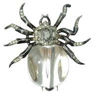 Crown Trifari Sterling Silver Spider Fur Clip Vintage 1940s Alfred Philippe Jelly Belly