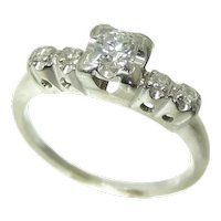 Diamond Engagement Ring 14k White Gold .34 ctw VS1 Vintage