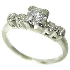Diamond Engagement Ring 14k White Gold .34 ctw VS1 Vintage