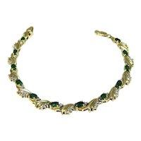 Emerald Diamond Tennis Bracelet 14k Gold Heavy Setting 14.8g