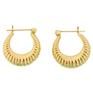 Vintage 14k Gold Hoop Earrings Ribbed Hinged Hoops