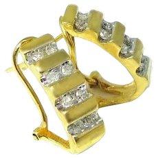 14k Diamond Demi Hoop Earrings Omega Backs .50 ctw