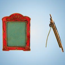 Miniature Deco Enamel Picture Frame Easel Back Dollhouse or Small Photo