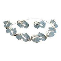 Vintage Margot De Taxco Enamel Sterling Silver Bracelet Earrings Set