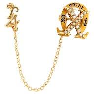 14k Chi Omega Sorority Pin Badge Antique Enamel with Upsilon Alpha Chapter Pin