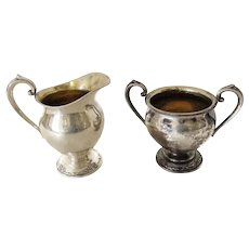 Silver Oneida Heirloom Damask Rose Creamer Sugar Oneida Sterling Vintage