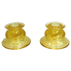 Federal Glass Madrid Amber Candlestick Holders