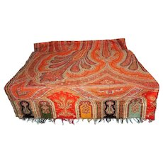 Antique Kashmir Paisley Shawl or Piano Scarf Massive 134 X 82 inch