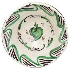 Antique Earthenware Tin Glaze Bowl Basin Teruel Spain c1860