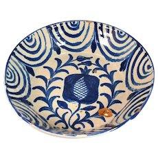 Tin Glaze Earthenware Basin Bowl Blue and White Granada Spain Antique